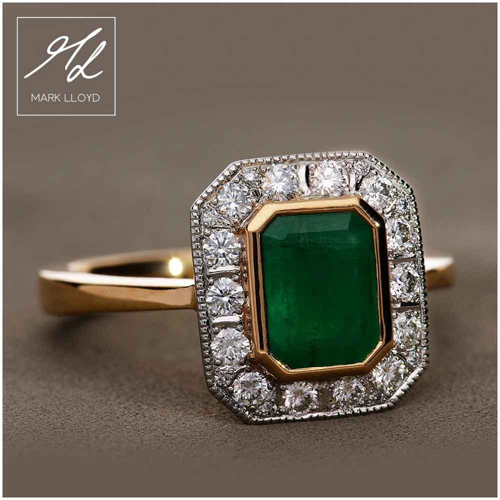 Jacqueline-Emerald-and-diamond-cluster-ring,-made-in-22ct-gold-and-platinum