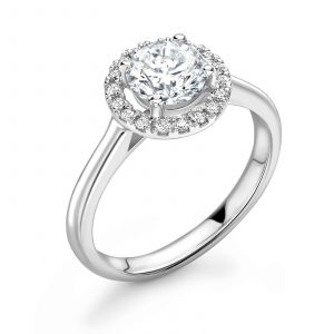 Diamond ring with diamond set halo castle setting