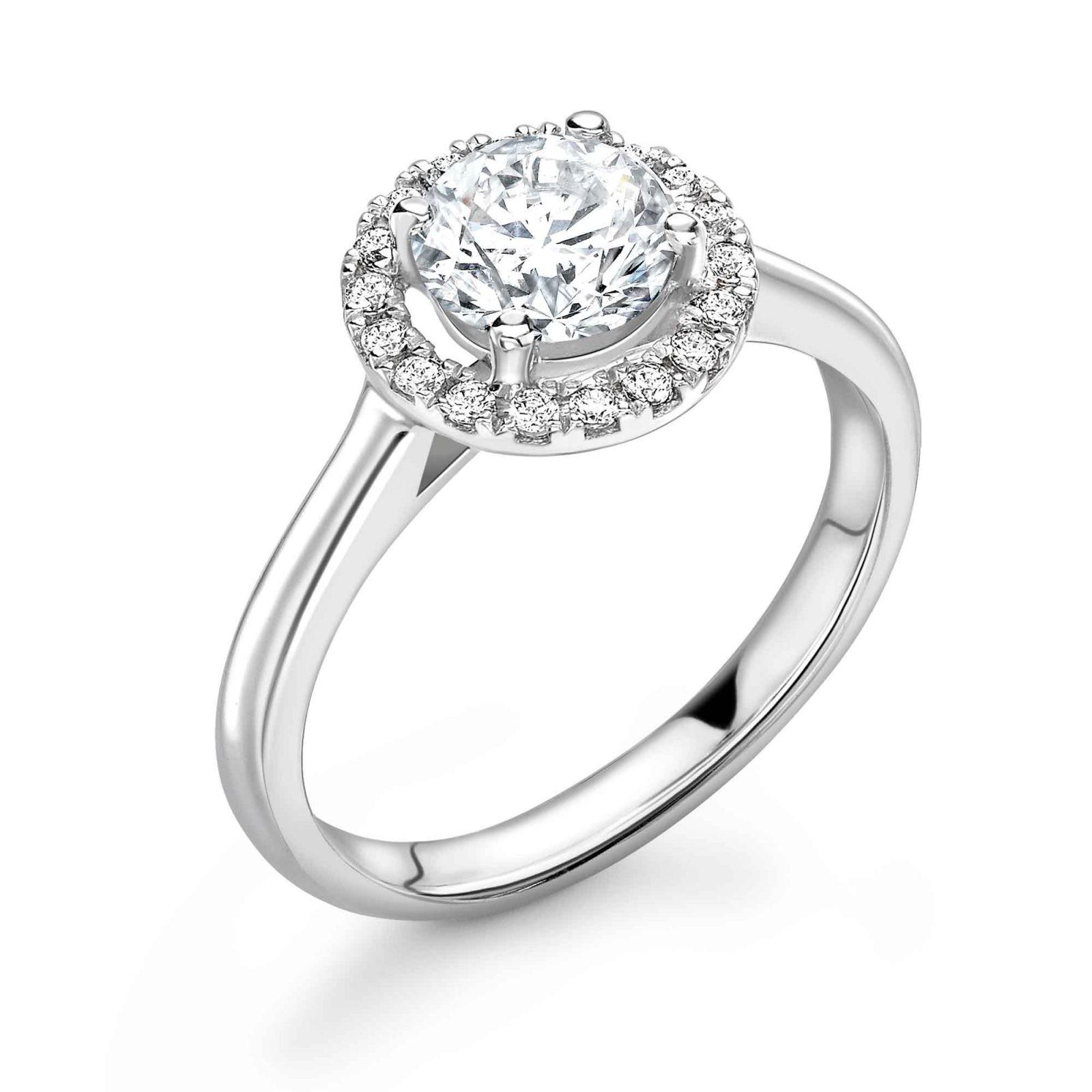 Diamond ring with diamond set halo castle setting