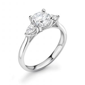 Diamond ring with two pear shaped diamonds