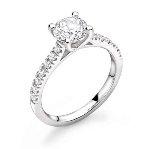 Diamond ring with diamond set shoulders