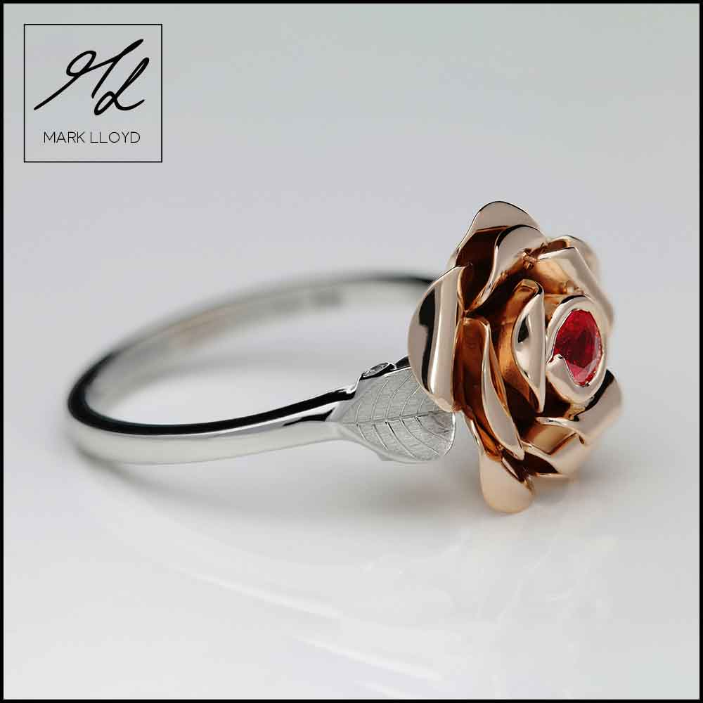 Rosalie-Rose-ring-in-platinum-and-9ct-rose-gold,-set-with-a-single-ruby-and-diamond-accents